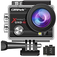 Campark 4K Action Cam WiFi ACT74 Action Cam 4K 16MP Wi-Fi Impermeabile 30M con 2 Batterie Custodia Impermeabile e Kit di Accessori