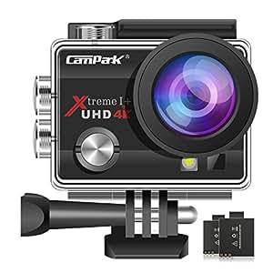 Campark ACT74 Caméra Sport 4K/1080P WiFi 16MP Ultra HD Caméra d'action Etanche 30M, 170 °Grand-Angle, 2 Pouces LCD 2 Batterie inclut des Kits Complets d'Accessoires