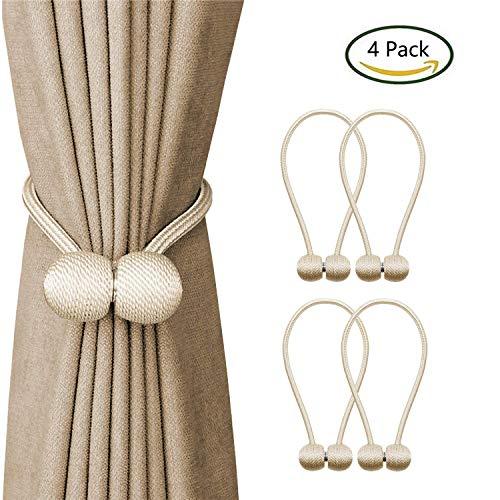 EEEKit - Ganchos magnéticos Decorativos para Cortinas, 4 Unidades, Color Beige