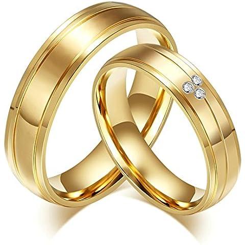 Alimab gioielli anelli donne inox in acciaio liscio Stripe Banda nozze