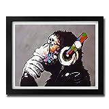 Box Prints Affe Chimp Kopfhörer Kunst Poster Drucken gerahmte Bild Klein groß
