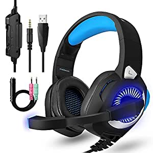 PS4 Headset Gaming, PC Headset with Micophones,Surround Sound Over-Ear Headphones with Noise Cancelling Mic, LED Lights, Volume Control for Laptop, Mac, iPad, Computer, Nintendo Switch,Blue