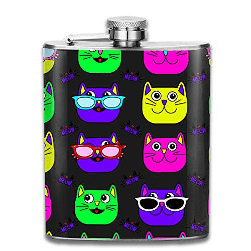 Cat, Glasses, Eyes, Mustache Stainless Steel Flask Classic 7OZ Hip Flask Flat Liquor Flask Whiskey Wine Flagon Mug