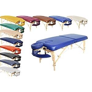 Mobile Profi Massageliege London klappbar und höhenverstellbar 76 cm breit inkl Massagezubehör wie Kopfstütze und Tragetasche