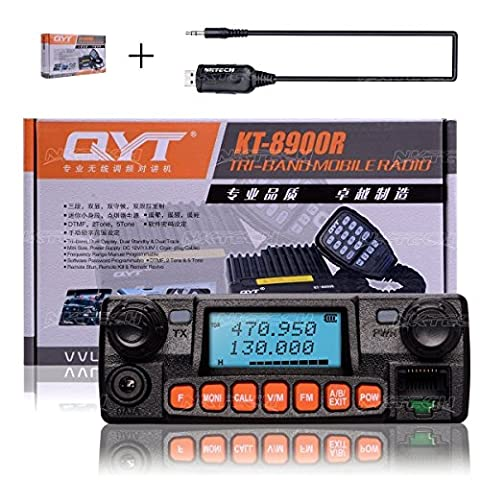 NKTECH USB Programmation Câble + QYT KT-8900RE Quad Band VHF UHF 136-174MHz 240-260MHz 350-390MHz 400-480MHz DTMF 2Tone 5Tone 25W Car/Trunk Ham Mobile Transceiver Walkie Talkie et Microphone