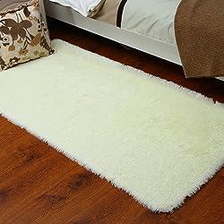 kooco 40* 60cm Solide Pink Rot Farbe Teppich Schlafzimmer Dekorieren Weich Boden Teppich Warm Colorful Wohnzimmer, Polyester, weiß, 50cmx80cm