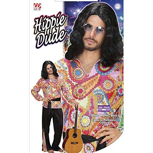 Amakando 70er Jahre Kostüm Bunte Hippiehose XL 54 Hippiekostüm Hemd Hose Gürtel Hippie Outfit Herren Karnevalskostüm Männer Hippieoutfit Fasching 70s Flower Power Hippiehemd