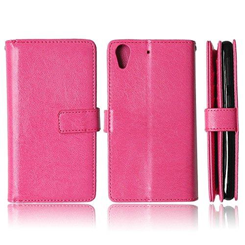 HTC 626 Case Solid Color-Qualität PU-Leder-Kasten-Abdeckungs-Standplatz-Mappen-Kasten für HTC 626 ( Color : Rose , Size : HTC 626 ) Rose