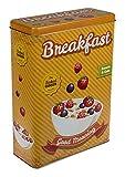 Haus und Deko Metalldose Breakfast Dose Box Müsli Cornflakes Aufbewahrung große Vorratsdose Frühstück XL Blechdose eckig 19 x 8 x 26,5 cm