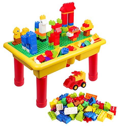 burgkidz Mesa De Construcciones Block, Mesa de Juego Grande Clásica de 68 Piezas con Placa Base para Niños, Compatible con la Mayoría de los Bloques de Marcas Importantes
