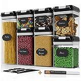 Chef's Path - Set di contenitori ermetici per Alimenti, Set da 7 Pezzi, 10 Etichette e Pennarello, Ideali per Cucina e dispensa, contenitori in plastica Trasparente con coperchi Resistenti