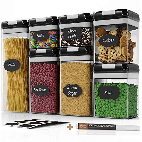 Chefs Path Set di contenitori ermetici per Alimenti Set da 7 Pezzi 10 Etichette e Pennarello Ideali per Cucina e dispensa contenitori plastica