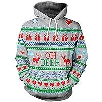 ☺Sweatshirts Hoodies Damen Männer Paar Oberteil Hemd T-Shirt Pullover Locker Sport Kleidung mit Kapuzen Weihnachten 3D Party Elch Kapuzenpullover Langarmshirt Bluse mit Taschen Frauen Pulli Tops
