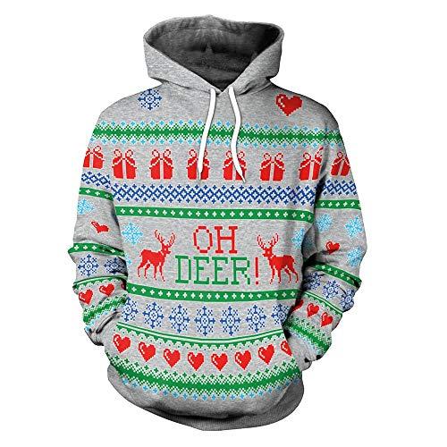 (Geili Weihnachten Pullover Damen Weihnachtsbaum 3D Druck Hoodie Langarm mit Kapuze Sweatshirt Frauen Christmas Xmas Große Größe Kapuzenpullover Bluse Tops Festlich Oberbekleidung)