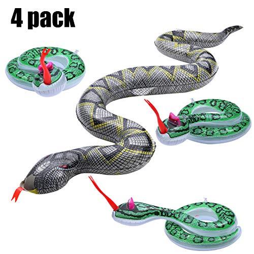 Boao 4 Stücke Aufblasbare Schlangen Beängstigend Simulierte Schlange Gefälschte Schlange Spielzeug für Halloween Party Garten Pool Spielen (Halloween Party Spielzeug)