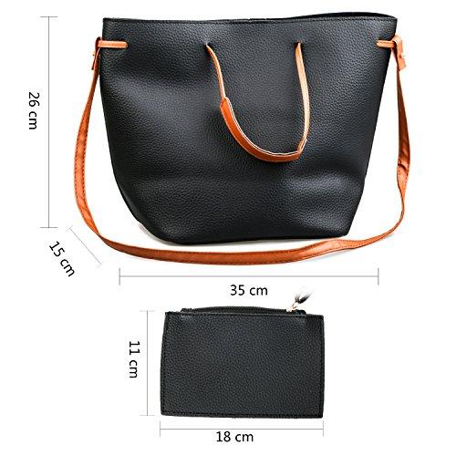 Young & Ming Leder Frauen Damen Schultertaschen Handtasche Umhängetaschen Shooper Mutil-Funktion mit 1 Brieftasche Schwarz