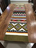 #1: FireFlies Fantasy Geometrical Design100% Cotton Canvas Long Table Runner, Green for Office Kitchen Dining Wedding Party Home Decor 16 X 72 Inches