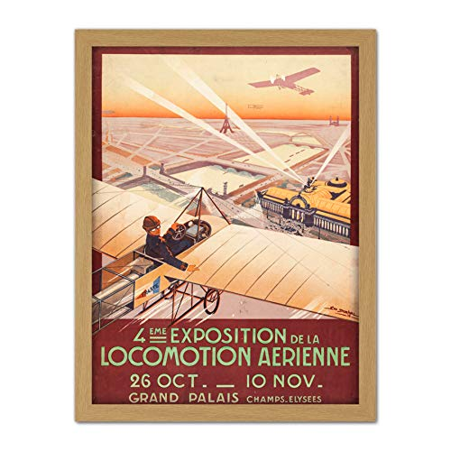 Dorival Air Show Aeroplane Exhibition Paris Advert Large Framed Art Print Poster Wall Decor 18x24 in Flugzeug Ausstellung Werbung Wand Deko (Paris Air Show)