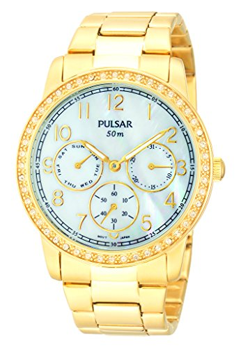 Pulsar Womens Ladies PP6094X1 Gold Plated Mother Of Pearl Crystal Set Bracelet Wrist Watch