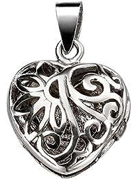 Plata con abertura en forma de corazón de filigrana con camafeo colgante por Beginnings
