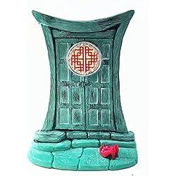 Puerta de hadas zen para gnomos y hadas de jardín en miniatura - Una hermosa puerta en miniatura de estilo oriental y turquesa, con zapatos de hada rojos extraíbles