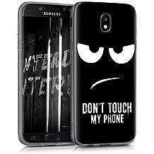 kwmobile Hülle für Samsung Galaxy J5 (2017) DUOS - TPU Silikon Backcover Case Handy Schutzhülle - Cover klar Don't touch my Phone Design Weiß Schwarz