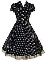 1950's Vintage Style Black White Polka Dot Classic Full Circle Shirt Party Prom Tea Dress