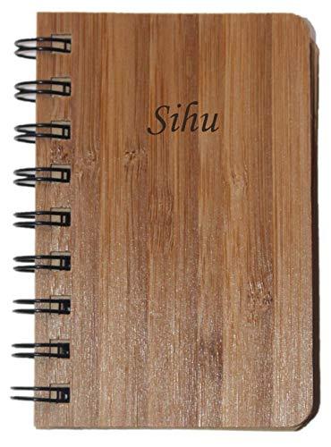 Notizbuch mit Holzdeckel mit eingraviertem Namen: Sihu (Vorname/Zuname/Spitzname)