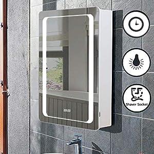 Lifelook LED Spiegelschrank Badspiegel Badschrank mit Beleuchtung Badezimmerspiegel Badspiegelschrank mit Digitale Uhr, Steckdose, Demister-Pad, Berührung Sensorschalter (70 * 50 * 13cm)