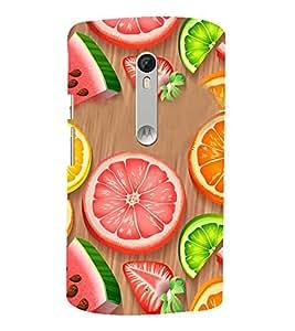 Fiobs Designer Back Case Cover for Motorola Moto X Play (Fruits Fal Oranges Narangi Watermelon Sweet)