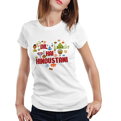iBerry Tshirts Women (Sports Wear) Republic Day 60 Special Indian (Dil Hai hindustani) White