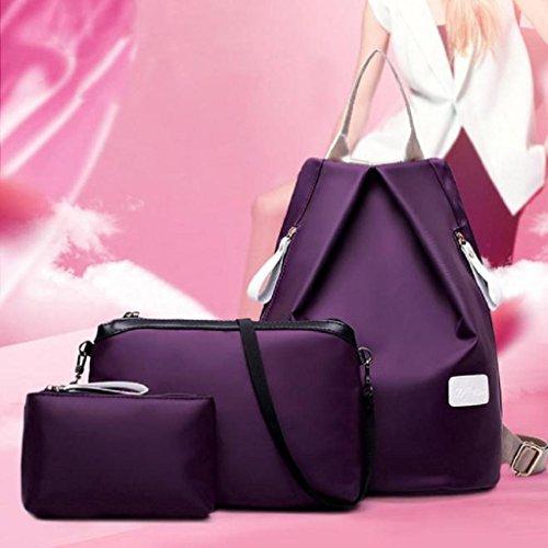 2017 Nuovo Borse donna,Kangrunmy 3PC Donne borsa di modo Borsa a tracolla zaino signore borsa Viola