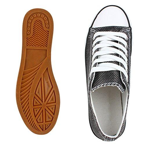 Elegante Damen Sneakers low | Glitzer Canvas Schuhe | Turnschuhe Freizeit | Gr. 36-41 Schwarz Shiny Metallic