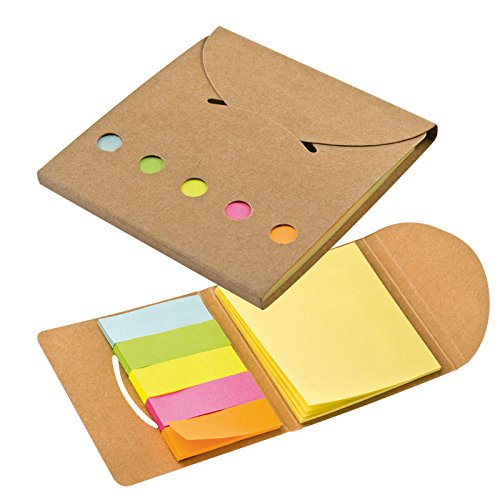 Pratico blocco notes tascabili con adesivi post it colorati dal look neautro