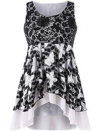 LILICAT® Camisetas de tallas grandes para mujer de verano (XL-5XL), Modelo de mariposa casual de encaje sin mangas…