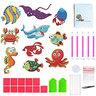 Geenber 5D Diamond Pianting Kits for Kids DIY Diamond Dotz Kits Drawing Tools Crystal Mosaic Sticker by Numbers Kits Arts and Crafts Set for Children - Sea World