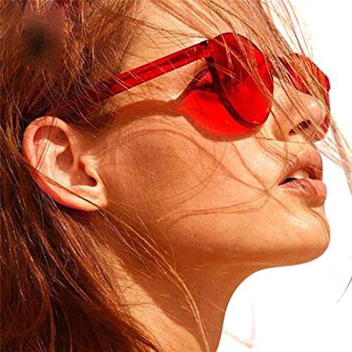 Amlaiworld Sommer bunt damen Mode Gläser retro Polarisierte Katzenaugen Sonnenbrille Klassische Sunglasses reflektierenden elegant Spiegel Süßigkeiten farbige Brillen (Rot)