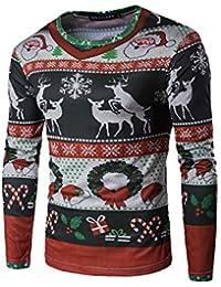 Camisetas De Navidad para Hombre Casual con Estampado De Papá Noel Suéters