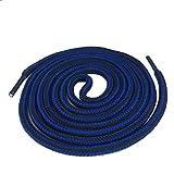 YaToy runde Streifen bunte Schnürsenkel für Turnschuhe Schuhe und Stiefel Ersatzschnur blau und schwarz