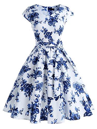 IVNIS RS90013 Damenkleid Floral Blumen Muster mit Taschen Vintage Kleider 50jähriger Rockabilly Cap-Sleeve Cocktail White Blue Flower X-Small (Dress Cap White Sleeve)