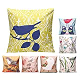 RISHIL WORLD 45x45cm Bird Flax Square Pillow Case Cushion Cover Sofa Throw Home Bedroom Decor Single Item.