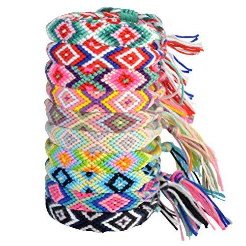 10 Stück Gewebte Armbänder Knöchel Fußkettchen Handgemachte Freundschaft Multi Farbe Unisex Armband für Erwachsene und Kinder