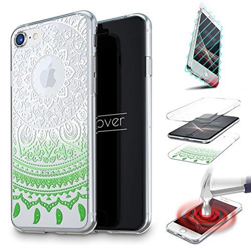 Urcover cover 360 mandala per apple iphone 6 plus 6s plus   custodia integrale trasparente in silicone tpu   fronte retro morbida ultra slim in verde