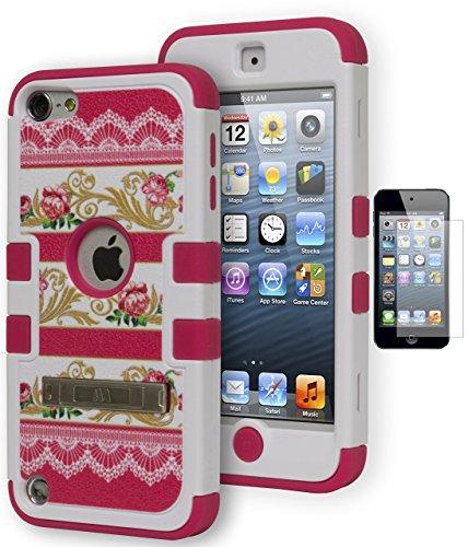 iPod Touch 5Fall, Bastex Heavy Duty Hybrid Soft Hot Pink Silikon Cover umgeben von Hard Hot Pink Rosen mit Gelb Vines Kickstand Tasche für Apple iPod Touch 5* * Inklusive Displayschutzfolie * * (Displayschutzfolie Ipod 5 Gen)