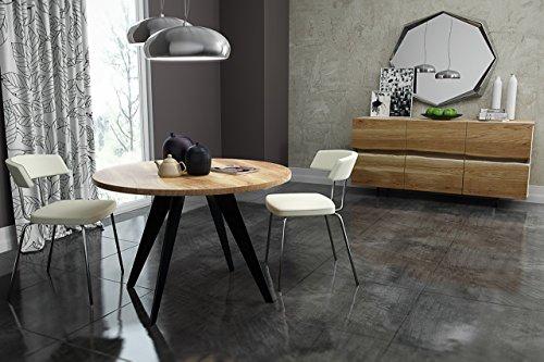 runder Tisch rund Esstisch Akazie massiv Massivholztisch Modern Nordic Ø 90 cm