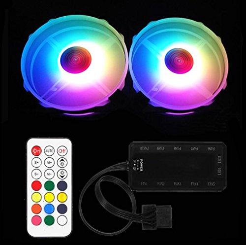 JHKJ RGB Ultra-Leise 120 mm X 120 mm Schrank/Prozessor Lüfter mit PC-Controller mit RF-Fernbedienung,2