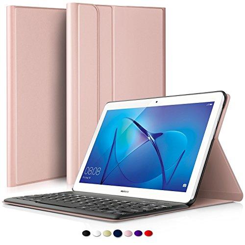 IVSO Huawei MediaPad T3 10 QWERTY Wireless Tastiera Portfolio - Detachable Wireless Copertura della Tastiera per Huawei MediaPad T3 10.0 Tablet, Oro Rosa