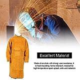 Schweißschürze Doppelseitige Arbeitskleidung aus Rindsleder Herrenjacke mit Ärmeln Tragbare Isolierung Verschleißfest Funkenfreie Schweißerschürze 105 54 cm