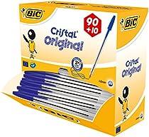 Bic Cristal 896289 Stylo bille Corps transparent Pointe 1 mm Largeur de trait 0,4 mm Bleu Lot de 90 + 10 gratuits