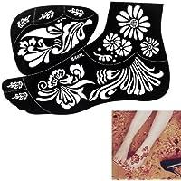 2 Fogli di grandi dimensioni Mehndi Tattoo Stencil Mehndi Tatuaggi